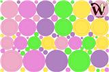 Dots and Circles Assorted Pastel Fabric Wall Decor - 95 Piece set.