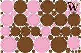 Dots and Circles Brown and Pink Fabric Wall Decor - 95 Piece set.
