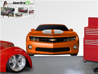 Camaro 2010 Front LIFE SIZE Inferno Orange and White Wall Skin