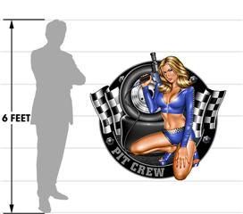 Pit Crew Pin Up Girl 51x48 Blue Wall Skin