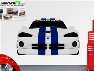 Dodge Viper White and Blue LIFE SIZE Wall Skin