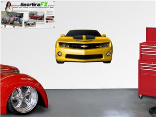 Camaro 2010 Front 52x31 inch Yellow and Black Wall Skin
