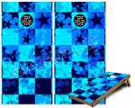 Cornhole ( Baggo ) Game Board Premium Laminated Vinyl Wrap Skin Kit - Blue Star Checkers (fits 24x48 game boards - Gameboards NOT INCLUDED)