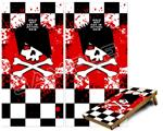 Cornhole ( Baggo ) Game Board Premium Laminated Vinyl Wrap Skin Kit - Emo Skull 5 (fits 24x48 game boards - Gameboards NOT INCLUDED)
