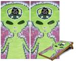 Cornhole ( Baggo ) Game Board Premium Laminated Vinyl Wrap Skin Kit - Phat Dyes - Alien - 100 (fits 24x48 game boards - Gameboards NOT INCLUDED)