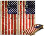 Cornhole ( Baggo ) Game Board Premium Laminated Vinyl Wrap Skin Kit - Painted Faded and Cracked USA American Flag (fits 24x48 game boards - Gameboards NOT INCLUDED)