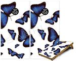 Cornhole ( Baggo ) Game Board Premium Laminated Vinyl Wrap Skin Kit - Butterflies Blue (fits 24x48 game boards - Gameboards NOT INCLUDED)