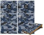 Cornhole ( Baggo ) Game Board Premium Laminated Vinyl Wrap Skin Kit - HEX Mesh Camo 01 Blue (fits 24x48 game boards - Gameboards NOT INCLUDED)