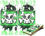 Cornhole ( Baggo ) Game Board Premium Laminated Vinyl Wrap Skin Kit - Cartoon Skull Green (fits 24x48 game boards - Gameboards NOT INCLUDED)