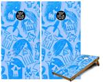 Cornhole ( Baggo ) Game Board Premium Laminated Vinyl Wrap Skin Kit - Skull Sketches Blue (fits 24x48 game boards - Gameboards NOT INCLUDED)
