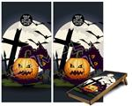 Cornhole ( Baggo ) Game Board Premium Laminated Vinyl Wrap Skin Kit - Halloween Jack O Lantern and Cemetery Kitty Cat (fits 24x48 game boards - Gameboards NOT INCLUDED)