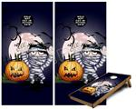 Cornhole ( Baggo ) Game Board Premium Laminated Vinyl Wrap Skin Kit - Halloween Jack O Lantern Pumpkin Bats and Zombie Mummy (fits 24x48 game boards - Gameboards NOT INCLUDED)