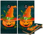 Cornhole ( Baggo ) Game Board Premium Laminated Vinyl Wrap Skin Kit - Halloween Mean Jack O Lantern Pumpkin (fits 24x48 game boards - Gameboards NOT INCLUDED)