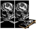 Cornhole ( Baggo ) Game Board Premium Laminated Vinyl Wrap Skin Kit - Chrome Skull on Black (fits 24x48 game boards - Gameboards NOT INCLUDED)