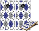 Cornhole ( Baggo ) Game Board Premium Laminated Vinyl Wrap Skin Kit - Argyle Blue and Gray (fits 24x48 game boards - Gameboards NOT INCLUDED)