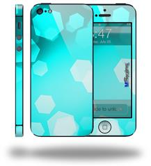 Bokeh Hex Neon Teal - Decal Style Vinyl Skin (fits Apple Original iPhone 5, NOT the iPhone 5C or 5S)