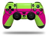 Vinyl Skin Wrap for Sony PS4 Dualshock Controller Psycho Stripes Neon Green and Hot Pink (CONTROLLER NOT INCLUDED)