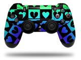Vinyl Skin Wrap for Sony PS4 Dualshock Controller Love Heart Checkers Rainbow (CONTROLLER NOT INCLUDED)