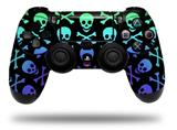 WraptorSkinz Skin compatible with Sony PS4 Dualshock Controller PlayStation 4 Original Slim and Pro Skull and Crossbones Rainbow (CONTROLLER NOT INCLUDED)