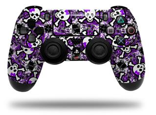 Vinyl Skin Wrap for Sony PS4 Dualshock Controller Splatter Girly Skull Purple (CONTROLLER NOT INCLUDED)