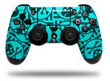 WraptorSkinz Skin compatible with Sony PS4 Dualshock Controller PlayStation 4 Original Slim and Pro Skull Patch Pattern Blue (CONTROLLER NOT INCLUDED)