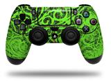 Vinyl Skin Wrap for Sony PS4 Dualshock Controller Folder Doodles Neon Green (CONTROLLER NOT INCLUDED)