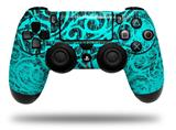 Vinyl Skin Wrap for Sony PS4 Dualshock Controller Folder Doodles Neon Teal (CONTROLLER NOT INCLUDED)