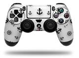Vinyl Skin Wrap for Sony PS4 Dualshock Controller Nautical Anchors Away 02 White (CONTROLLER NOT INCLUDED)