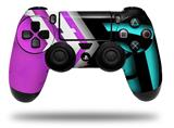 Vinyl Skin Wrap for Sony PS4 Dualshock Controller Black Waves Neon Teal Hot Pink (CONTROLLER NOT INCLUDED)