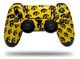 Vinyl Skin Wrap for Sony PS4 Dualshock Controller Iowa Hawkeyes Tigerhawk Tiled 06 Black on Gold (CONTROLLER NOT INCLUDED)
