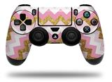 Vinyl Skin Wrap for Sony PS4 Dualshock Controller Pink and White Chevron (CONTROLLER NOT INCLUDED)