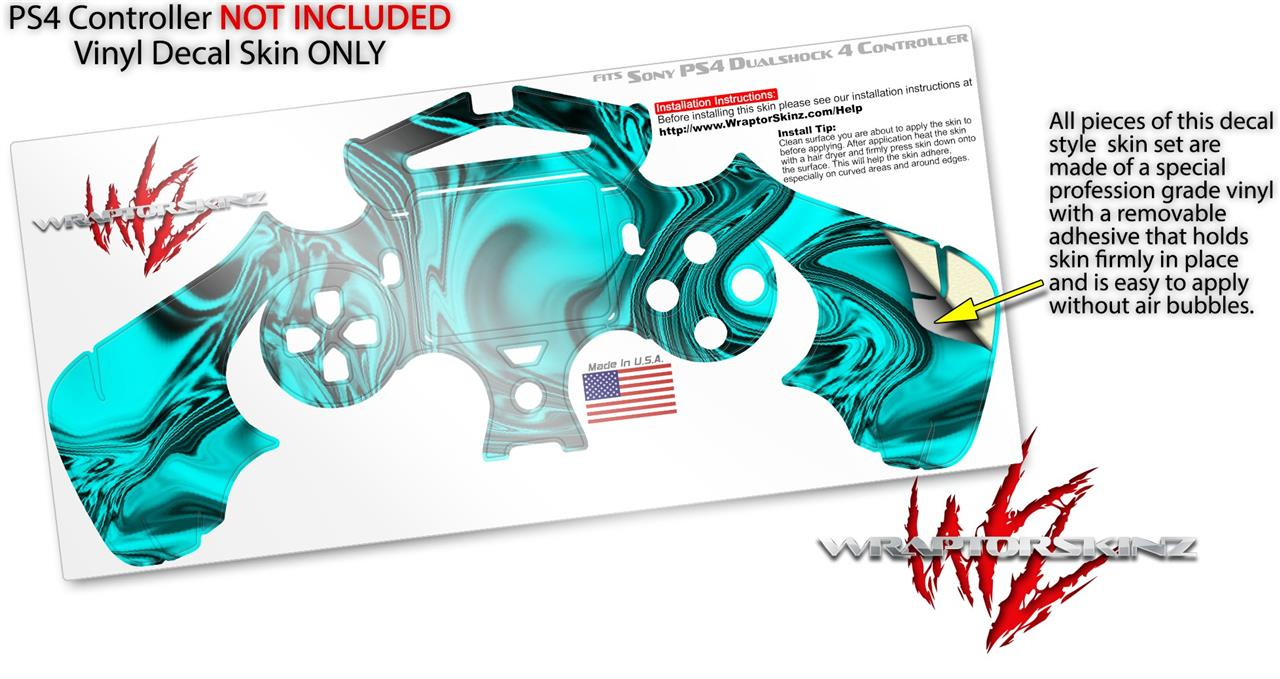 Sony PS4 Controller Skins Liquid Metal Chrome Neon Teal | uSkins