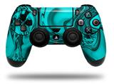 Vinyl Decal Skin Wrap compatible with Sony PlayStation 4 Dualshock Controller Liquid Metal Chrome Neon Teal (PS4 CONTROLLER NOT INCLUDED)