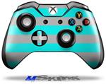 Psycho Stripes Neon Teal and Gray - Decal Style Skin fits Microsoft XBOX One Wireless Controller