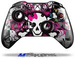 Splatter Girly Skull - Decal Style Skin fits Microsoft XBOX One Wireless Controller
