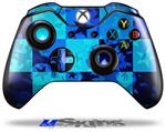 Decal Skin Wrap fits Microsoft XBOX One Wireless Controller Blue Star Checkers