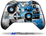 Decal Skin Wrap fits Microsoft XBOX One Wireless Controller Checker Skull Splatter Blue