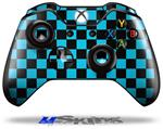 Decal Skin Wrap fits Microsoft XBOX One Wireless Controller Checkers Blue