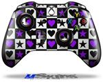 Decal Skin Wrap fits Microsoft XBOX One Wireless Controller Purple Hearts And Stars