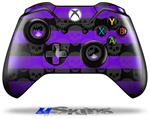 Skull Stripes Purple - Decal Style Skin fits Microsoft XBOX One Wireless Controller