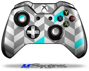 Chevrons Gray And Aqua - Decal Style Skin fits Microsoft XBOX One Wireless Controller