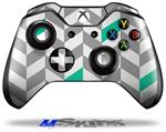 Decal Skin Wrap fits Microsoft XBOX One Wireless Controller Chevrons Gray And Turquoise