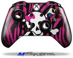 Pink Zebra Skull - Decal Style Skin fits Microsoft XBOX One Wireless Controller