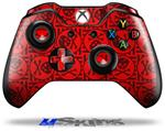 Skull Patch Pattern Red - Decal Style Skin fits Microsoft XBOX One Wireless Controller