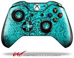 Folder Doodles Neon Teal - Decal Style Skin fits Microsoft XBOX One Wireless Controller