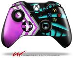 Decal Skin Wrap fits Microsoft XBOX One Wireless Controller Black Waves Neon Teal Hot Pink