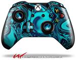 Decal Skin Wrap compatible with Microsoft XBOX One Wireless Controller Liquid Metal Chrome Neon Blue
