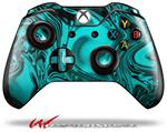 Decal Skin Wrap compatible with Microsoft XBOX One Wireless Controller Liquid Metal Chrome Neon Teal