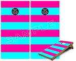 Cornhole Game Board Vinyl Skin Wrap Kit - Psycho Stripes Neon Teal and Hot Pink fits 24x48 game boards (GAMEBOARDS NOT INCLUDED)