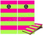 Cornhole Game Board Vinyl Skin Wrap Kit - Psycho Stripes Neon Green and Hot Pink fits 24x48 game boards (GAMEBOARDS NOT INCLUDED)